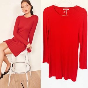REFORMATION JEANNE MINI Sweater DRESS RED NWT L